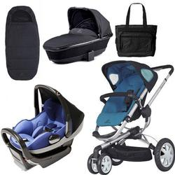 Quinny Buzz 3 Blue Scratch - Prezi Blue - Tukk Bassinet Black - Footmuff Black and Diaper Bag