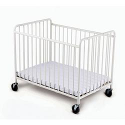 Foundations 1231090 Compact StowAway EasyRoll Folding Crib w/4 inch Casters (Foam Mattress) - White