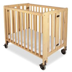 Foundations 1031042 Compact HideAway EasyRoll Folding Fixed-Side Crib, Slatted w/4 inch Casters - Natural