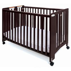 Foundations 1051852 Full-Size HideAway Nursery Folding Fixed-Side Crib, Slatted w/ 2 inch Casters - Antique Cherry