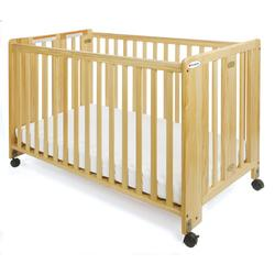 Foundations 1051042 Full-Size HideAway Nursery Folding Fixed-Side Crib, Slatted w/ 2 inch Casters - Natural