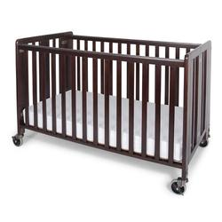 Foundations 1011852 Full-Size HideAway EasyRoll Folding Fixed-Side Crib, Slatted w/4 inch Casters - Antique Cherry