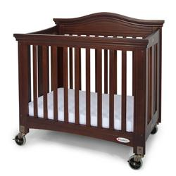 Foundations 1131852 Compact Royale EasyRoll Folding Fixed-Side Crib, Slatted w/4 inch Casters - Antique Cherry