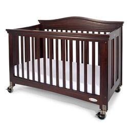 Foundations 1111852 Full-Size Royale EasyRoll Folding Fixed-Side Crib, Slatted w/4 inch Casters - Antique Cherry