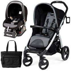 Peg Perego Book Stroller Travel System with a Diaper Bag - Stone-Black/Grey