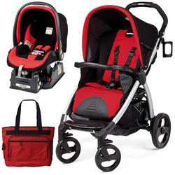 Peg Perego Book Stroller Travel System with a Diaper Bag - Flamenco-Cherry Red/Black