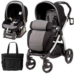 Peg Perego Book Plus Stroller Travel System with a Diaper Bag - Stone-Black/Grey