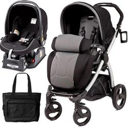 Peg Perego Book Plus Stroller Travel System with a Diaper Bag - Nero Stone-Black/Grey