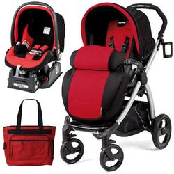 Peg Perego Book Plus Stroller Travel System with a Diaper Bag - Flamenco - Cherry Red/Black