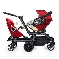 Orbit Baby Helix G2 Double Stroller with Infant Car Seat in Ruby/Red