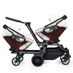 Orbit Baby Helix G2 Double Stroller with 2 Infant Car Seats in Mocha/Khaki