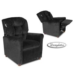 Dozydotes 13070 MicroSuede Four Button Childrens Recliner - Black Onyx
