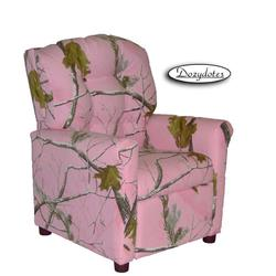 Dozydotes 13000 Fabric Four Button Childrens Recliner - Camouflage Pink/Real Tree