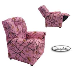 Dozydotes 11822 Fabric Four Button Childrens Recliner - Pink Camouflage/True Timber