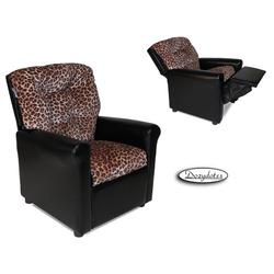 Dozydotes 14010 Fabric Four Button Childrens Recliner - Cheetah/Black