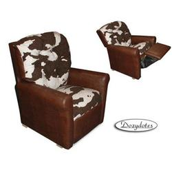Dozydotes 14030 Leather Like Four Button Childrens Recliner - Brown/Cow surface