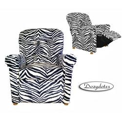 Dozydotes 14080 Micro Suede Four Button Childrens Recliner - Zebra