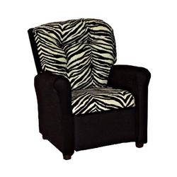 Dozydotes 14090 Micro Suede Four Button Childrens Recliner - Zebra / Black