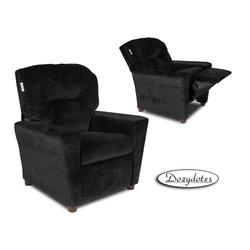 Dozydotes 14100 Micro suede Children's Recliner with Cup Holder - Black Onyx
