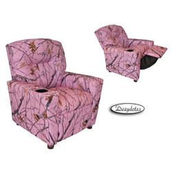 Dozydotes 11820 Fabric Children's Recliner with Cup Holder - Camouflage Pink /True Timber