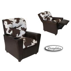 Dozydotes 14130 Leather Like Children's Recliner with Cup Holder - Cow/Pecan