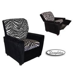 Dozydotes 14160 Micro Suede Children's Recliner with Cup Holder - Zebra/Black