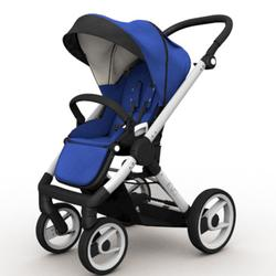 Mutsy EVO Brushed alum. Chassis Stroller in Blue