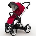 Mutsy EVO Brushed alum. Chassis Stroller in Red