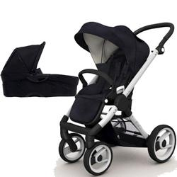Mutsy EVO  Brushed alum.Chassis Newborn Stroller System In Black