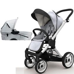 Mutsy EVO  Brushed alum.Chassis Newborn Stroller System In Silver