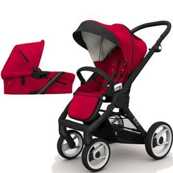 Mutsy EVO  Black Chassis Newborn Stroller System In Red