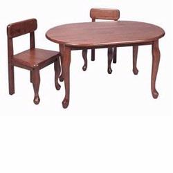 GiftMark 3002C Oval Shaped Queen Anne Table with Matching Chairs, Cherry
