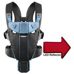 Baby Bjorn - Miracle Baby Carrier with LED Safety Reflector Light - Black/Light Blue Cotton Mix