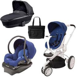Quinny Moodd Blue Defiance -  Mico AP Blue - Tukk Bassinet Black and Diaper Bag