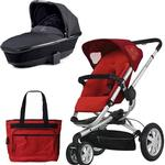 Quinny CV155RLR Buzz 3 Pram Set Bassinet and Diaper Bag - Rebel Red