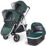 UPPAbaby 0112-ELA ELLA VISTA Double Stroller Kit with Bassinet - Jade Green