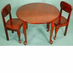 GiftMark 3000 Queen Anne Round Table and Chair Set, Cherry