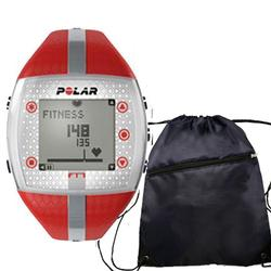 Polar FT7F Heart Rate Monitor  with FREE Polar Cinch Bag- Red/Silver