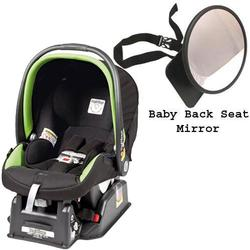 Peg Perego Primo Viaggio sip 30/30 Car Seat w/ Back Seat Mirror - Nero Energy - Lime Green Piping