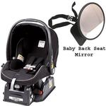 Peg Perego Primo Viaggio sip 30/30 Car Seat w/ Back Seat Mirror - Nero Reflect - Black with reflect piping