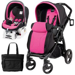 Peg Perego Book Plus Stroller Travel System with a Diaper Bag - Fucsia - Hot Pink