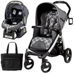 Peg Perego Book Stroller Travel System with a Diaper Bag - Pois Grey / Charcoal Grey Dots