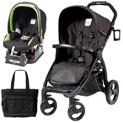 Peg Perego Book Stroller Travel System with a Diaper Bag - Nero Reflect / Black with reflect piping