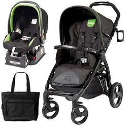 Peg Perego Book Stroller Travel System with a Diaper Bag - Nero Energy-Black with lime green piping