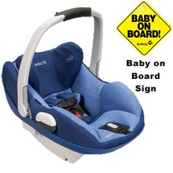 Maxi-Cosi IC158BIV Prezi Infant Car Seat White Collection w/Baby on Board Sign - Reliant Blue