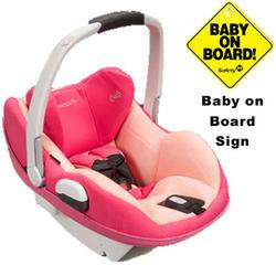 Maxi-Cosi IC158BIW Prezi Infant Car Seat White Collection w/Baby on Board Sign - Passionate Pink