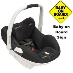 Maxi-Cosi IC158BIZ Prezi Infant Car Seat White Collection w/Baby on Board Sign - Devoted Black