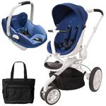 Quinny CV078BXQ Moodd Prezi/White Travel system with Diaper bag and car seat - Blue Defiance