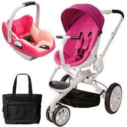 Quinny CV078BFU Moodd Prezi/White Travel system with Diaper bag and car seat - Pink Passion