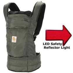 Ergo Baby BC346001NL Travel Collection Baby Carrier - Stowaway in Olive with LED Safety Reflector Light